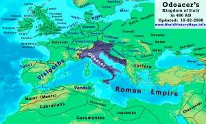 Statul lui Odoacru in 480