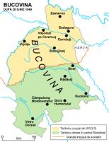 Bucovina istorică- în verde partea care azi e în România și în galben partea care se află în Ucraina