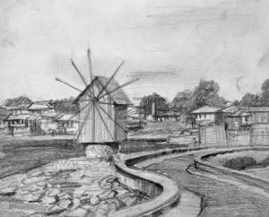 20540632-black-and-white-pencil-drawing-of-the-old-windmill-in-nesebarl-on-bulgarian-black-sea-coast