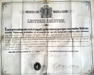 Diplomă eliberată de Universitatea Principatele Unite Moldova & Valahia, în Iaşi, Principatul Moldova, la 16 decembrie 1861, sub numărul 393.