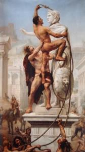 Sub privirile lui Alaric (stânga jos, pe cal) vizigoții distrug o statuie