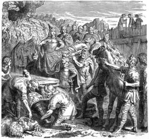 Funeraliile lui Alaric. Calul său este în dreapta. Click pentru mărire