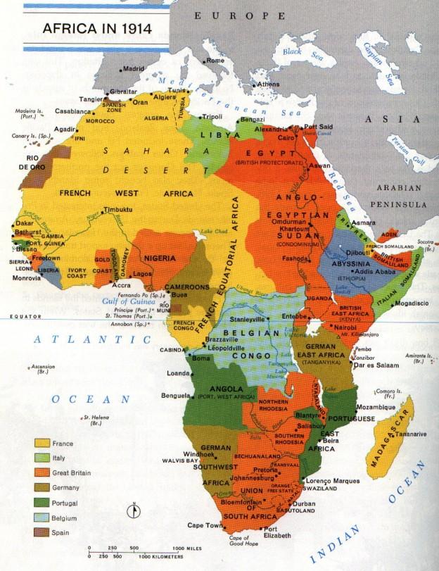 Harta Africii la 1914. Click pentru marire. Congo belgian era de fapt posesiunea personala regelui belgian Leopold, nu a statului.