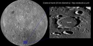 Craterul Haret de pe fata  nevazuta a Lunii cu diametrul de 25 de km