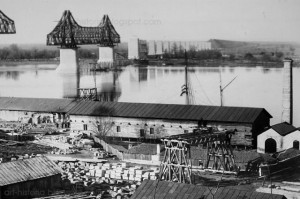 Fotografie din timpul constructiei podului de la cernavodă