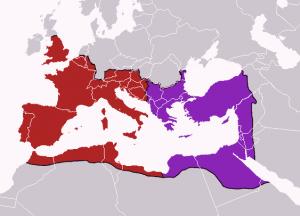 Imperiul Roman dupa 395, anul in care Theodosius l-a divizat