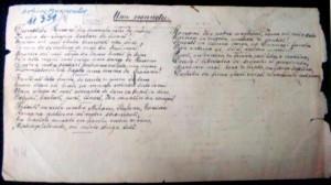 """Versuri - Mureşanu, Andrei. Transcriere din sec. XIX a poeziei """"Un răsunet"""", de Andrei Mureşanu, cunoscută astăzi """"Deşteaptă-te române""""."""