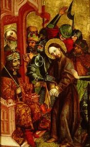 Reprezentare defaimatoare a lui Vlad Tepes ca Pilat din Pont judecandu-L pe Iisus