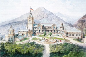 Unul dintre cele trei proiecte prezentate la 1873 lui Carol de Hohenzollern-Sigmaringen de către primul arhitect al castelului Peleş, Wilhelm von Doderer (1825-1900) şi respinse de comanditar