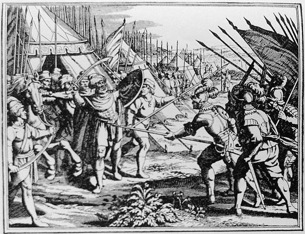 Uciderea lui Mihai Viteazul la Turda (gravura realizata la Leiden - Olanda, 1703)
