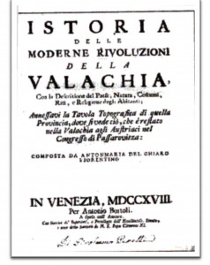 """Pincipala opera a lui Anton Maria Del Chiaro """"Revolutiile Valahiei"""""""
