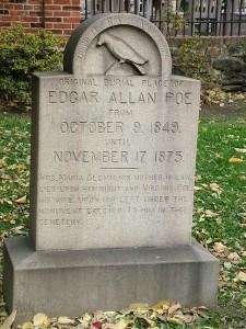 Monument care atesta primul loc in care a fost ingropat Poe. Initial locul de veci nu avea piatra funerara