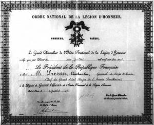 Brevetul ordinului Legiunii de Onoare acordat lui Constantin Prezan în 1917