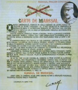 Constantin Prezan - Cartea de Mareșal al României, 1930