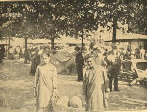 Piaţă în Budapesta în momentul intrării trupelor române